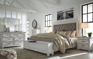 Kanwyn Whitewash 5 Pc. Dresser, Mirror & King UPH Storage Bed