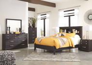 Reylow Dark Brown 7 Pc. Dresser, Mirror, Chest, Queen Bookcase Bed & 2 Nightstands
