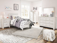 Paxberry Whitewash Dresser, Mirror, Dressing Chest & Twin Panel Bed