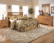 Bittersweet Light Brown 3 Pc. Dresser, Mirror & Queen Panel Headboard with on Bed Frame