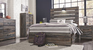 Drystan Multi Dresser, Mirror, Chest & Full Panel Bed with 2 Storage Drawers