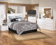Bostwick Shoals White 6 Pc. Dresser, Mirror, Chest, Queen Panel Headboard & 2 Nightstands