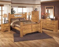 Bittersweet Light Brown 9 Pc. Dresser, Mirror, Chest, Queen Poster Bed & 2 Nightstands