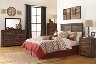 Quinden Dark Brown 4 Pc. Dresser, Mirror, Chest & Queen Headboard Bed