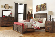 Quinden Dark Brown 6 Pc. Dresser, Mirror, Queen Panel Bed & Nightstand