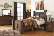 Quinden Dark Brown 7 Pc. Dresser, Mirror, Queen Poster Bed & Nightstand