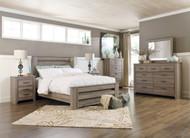 Zelen Warm Gray 8 Pc. Dresser, Mirror, Chest, Queen Panel Bed & 2 Nightstands