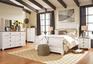 Willowton Whitewash 8 Pc Dresser, Mirror, Chest, Queen Sleigh Bed & 2 Nightstands
