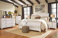 Willowton Whitewash 8 Pc. Dresser, Mirror, Chest, King Sleigh Bed & 2 Nightstands