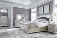 Coralayne Silver 5 Pc. Dresser, Mirror & King Upholstered Panel Bed