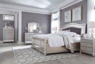 Coralayne Silver 6 Pc. Dresser, Mirror, Chest & California King Upholstered Panel Bed