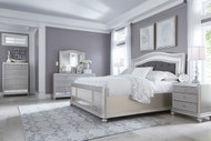 Coralayne Silver 8 Pc. Dresser, Mirror, Chest, King Upholstered Panel Bed & 2 Nightstands