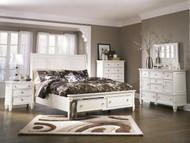 Prentice White 6 Pc. Dresser, Mirror, Chest & Queen Sleigh Storage Bed