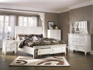 Prentice White 7 Pc. Dresser, Mirror, Chest, Queen Sleigh Storage Bed & Nightstand