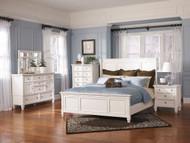 Prentice White 5 Pc. Dresser, Mirror & Queen Panel Bed