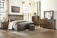 Lakeleigh Brown 9 Pc. Dresser, Mirror, Chest, King Panel Bed, 2 Nightstands & Arturo Duvet Cover Set