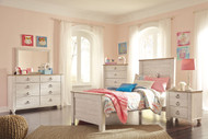 Willowton Whitewash 5 Pc. Dresser, Mirror & Twin Panel Bed