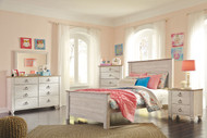 Willowton Whitewash 6 Pc. Dresser, Mirror, Full Panel Bed & Nightstand