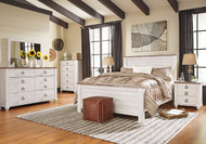 Willowton Whitewash 5 Pc. Dresser, Mirror & Queen Panel Bed