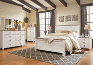 Willowton Whitewash 7 Pc. Dresser, Mirror, Queen Panel Bed & 2 Nightstands
