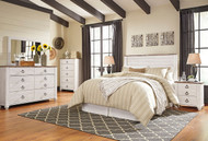 Willowton Whitewash 5 Pc. Dresser, Mirror, Queen Panel Headboard & 2 Nightstands