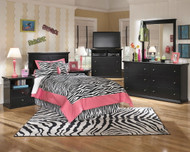 Maribel Black 5 Pc. Dresser, Mirror, Twin Panel Headboard & 2 Nightstands