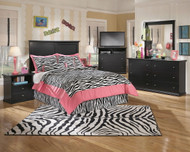 Maribel Black 3 Pc. Dresser, Mirror & Full Panel Headboard