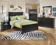 Maribel Black 7 Pc. Dresser, Mirror, Full Panel Bed & 2 Nightstands