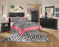 Maribel Black 5 Pc. Dresser, Mirror, Full Panel Headboard & 2 Nightstands