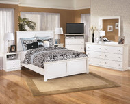 Bostwick Shoals White 7 Pc. Dresser, Mirror, Queen Panel Bed & 2 Nightstands