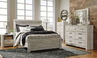 Bellaby Whitewash 7 Pc. Dresser, Mirror, Queen Panel Bed & 2 Nightstands