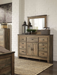 Trinell Brown Dresser with Fireplace Option & Mirror