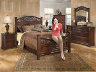 Leahlyn Warm Brown 8 Pc. Dresser, Mirror, Chest, King Panel Bed & 2 Nightstands