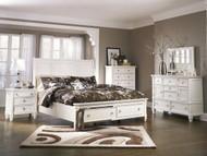 Prentice White 6 Pc. Dresser, Mirror, Chest & California King Sleigh Storage Bed
