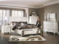 Prentice White 6 Pc. Dresser, Mirror, Door Chest & California King Sleigh Storage Bed