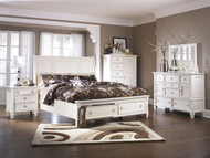 Prentice White 7 Pc. Dresser, Mirror, Door Chest, California King Sleigh Storage Bed & Nightstand
