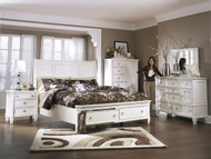 Prentice White 6 Pc. Dresser, Mirror, California King Sleigh Storage Bed & Nightstand