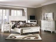 Prentice White 6 Pc. Dresser, Mirror, King Sleigh Storage Bed & Nightstand