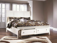 Prentice White California King Sleigh Storage Bed