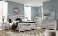Brashland White 7 Pc. Dresser, Mirror, California King Panel Bed & 2 Nightstands