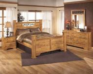 Bittersweet Light Brown 7 Pc. Dresser, Mirror, Queen Poster Bed & Nightstand