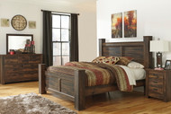 Quinden Dark Brown 7 Pc. Dresser, Mirror, King Poster Bed & Nightstand