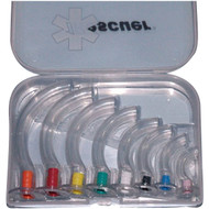 Guedel Airways Set of 8 in a Clear Hard Case- 5 Pack - Rescuer brand.