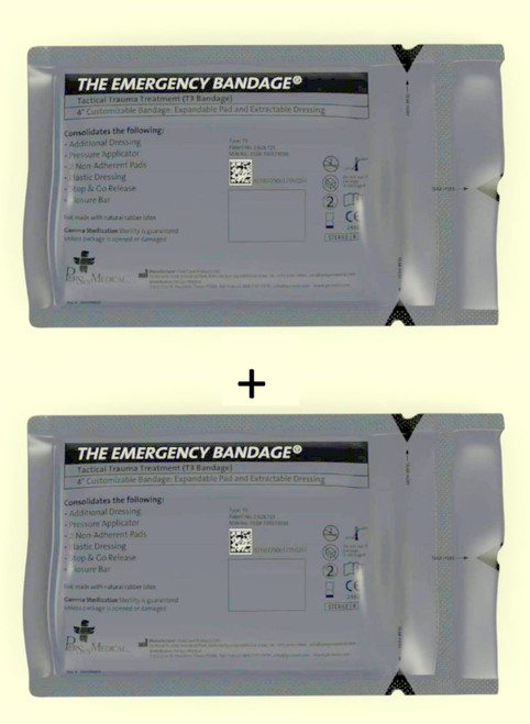 T3  2Pack Tactical Trauma Treatment 'Israeli' Bandage 10x17cm
