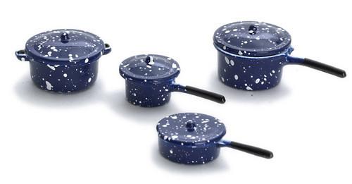 Dollhouse City - Dollhouse Miniatures Pot Set - Blue Spatter