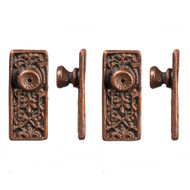 Ornate Door Knob Set - Bronze