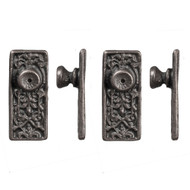 Ornate Door Knob Set - Pewter