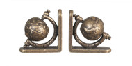 Small Globe Bookends Set - Antique Brass