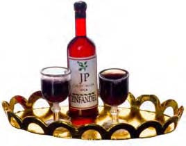 Red Wine with Glasses - Tray