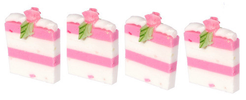 Dollhouse City - Dollhouse Miniatures Sliced Cake Set - White